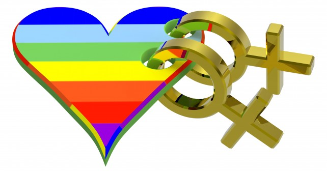 Gold sex symbol linked with rainbow heart.